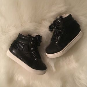 Baby/Toddler Girl Circo Black Fringe Lace Up Shoes